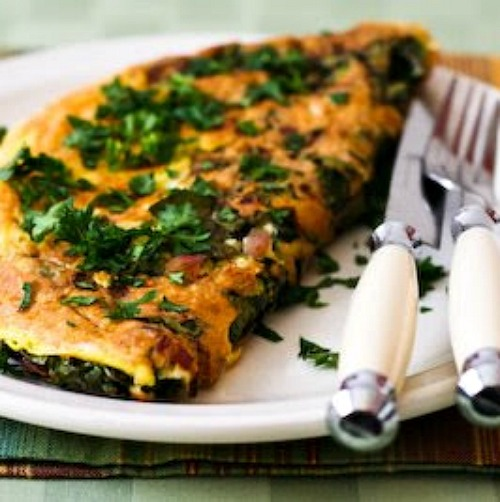 Red Kale and Cheese Omelette for Two found on KalynsKitchen.com