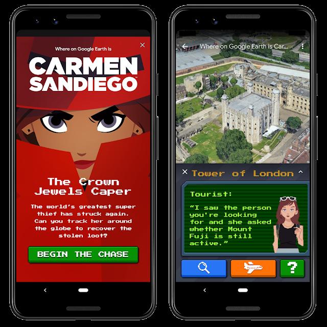 Smartphone, das das Carmen Sandiego Spiel zeigt