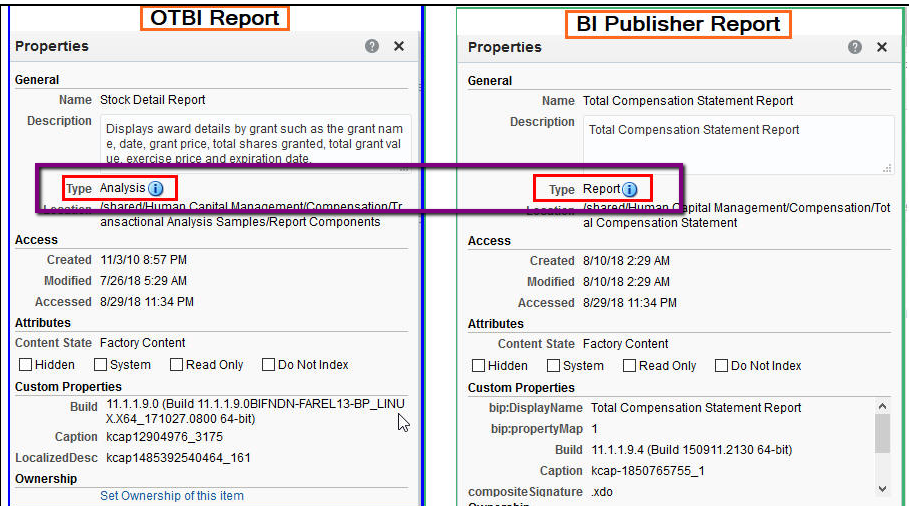 How to identify if a report is a BI Publisher report or an OTBI Analysis