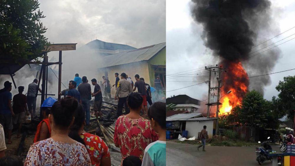 Terjadi Kebakaran Di Merlung, Dua Rumah Warga Habis Dilahap Si Jago Merah