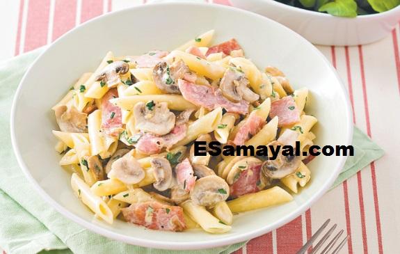 ஹாம் காளான் பாஸ்தா செய்வது | Ham Mushroom Pasta Recipe !