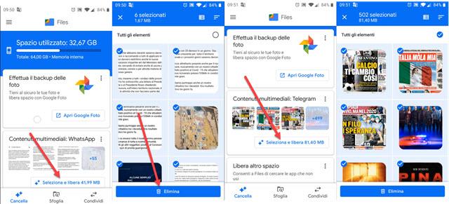 eliminare i contenuti multimediali di whatsapp e telegram