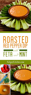 Roasted Red Pepper Dip with Feta and Mint found on KalynsKitchen.com