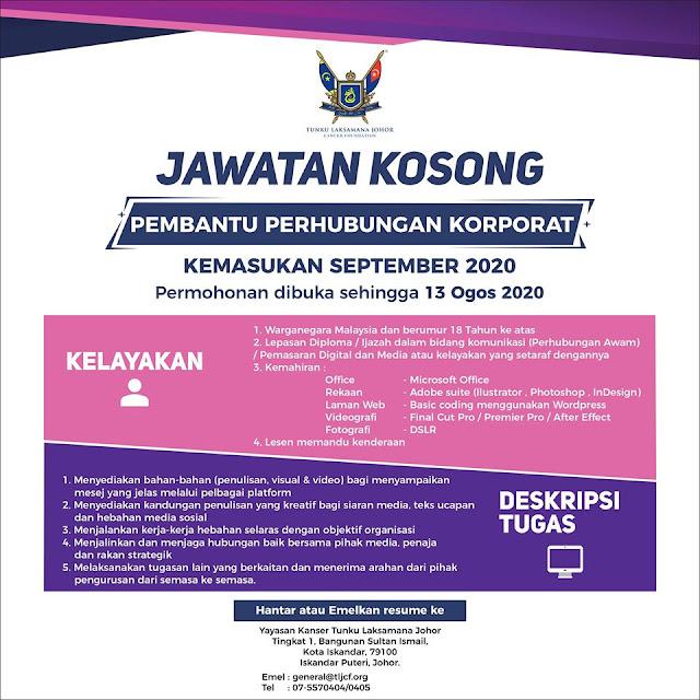 Jawatan Kosong di Tunku Laksamana Johor Cancer Foundation