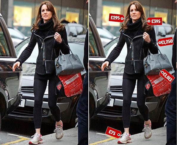 Kate Middleton was photographed by Rosalyn Wikeley while she was getting out of the fitness-wear shop Lulu Lemon in Chelsea, London.