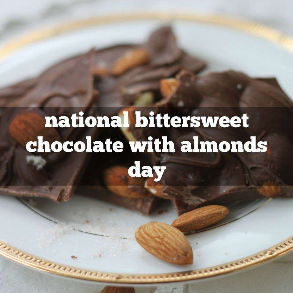 National Bittersweet Chocolate with Almonds Day Wishes Unique Image