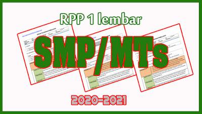 Kumpulan RPP 1 Lembar SMP/MTs Tahun Ajaran 2020