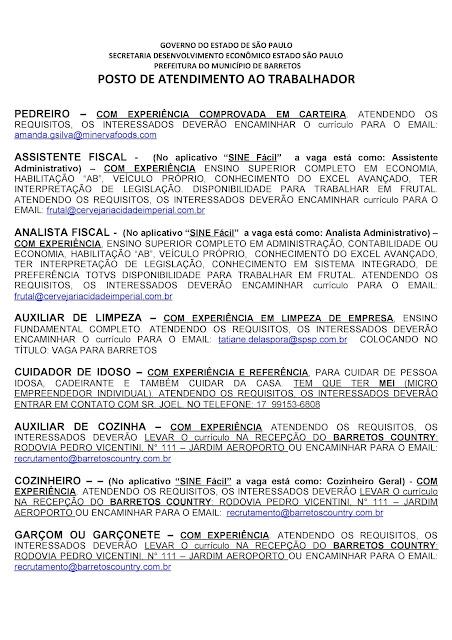 VAGAS DE EMPREGO DO PAT BARRETOS PARA 05-11-2020 PUBLICADAS DE MANHÃ - Pag. 3