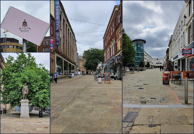 Collage of photos of Blackburn showing wide streets and few people