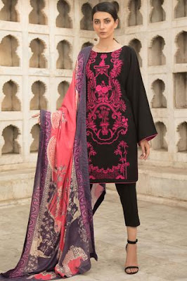 warda winter collection peach pink colour suit with printed shawl