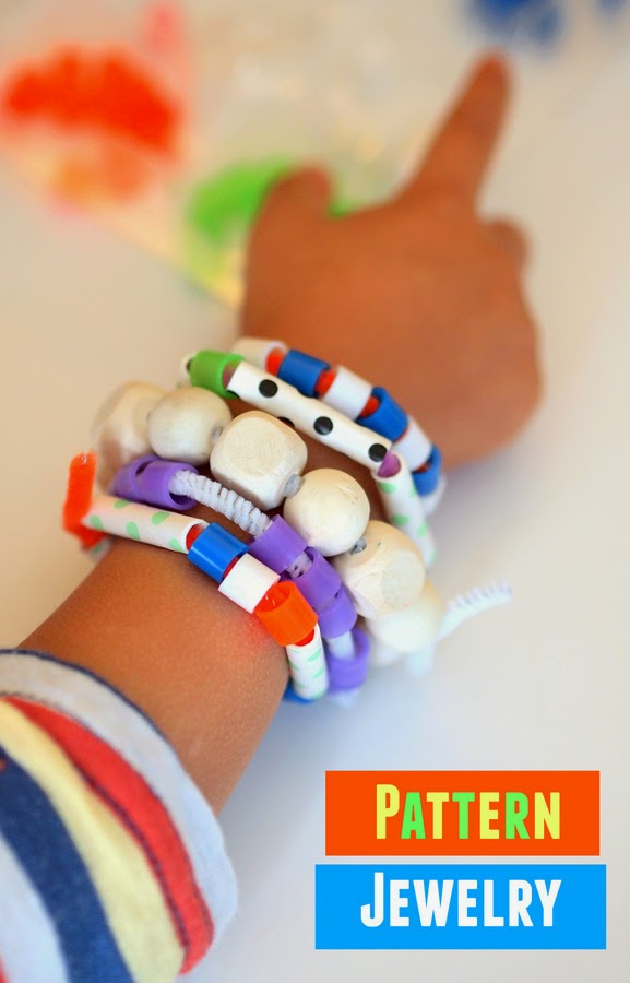 how to make pattern jewelry with preschoolers for Mother's Day
