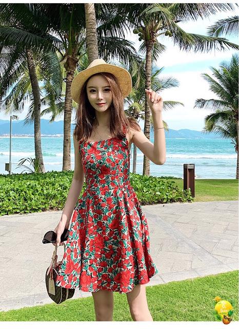 Shop ban vay maxi di bien o Trung Hoa