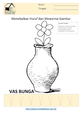Lembar Kerja Paud Menebalkan Huruf V dan Mewarnai Gambar Vas Bunga