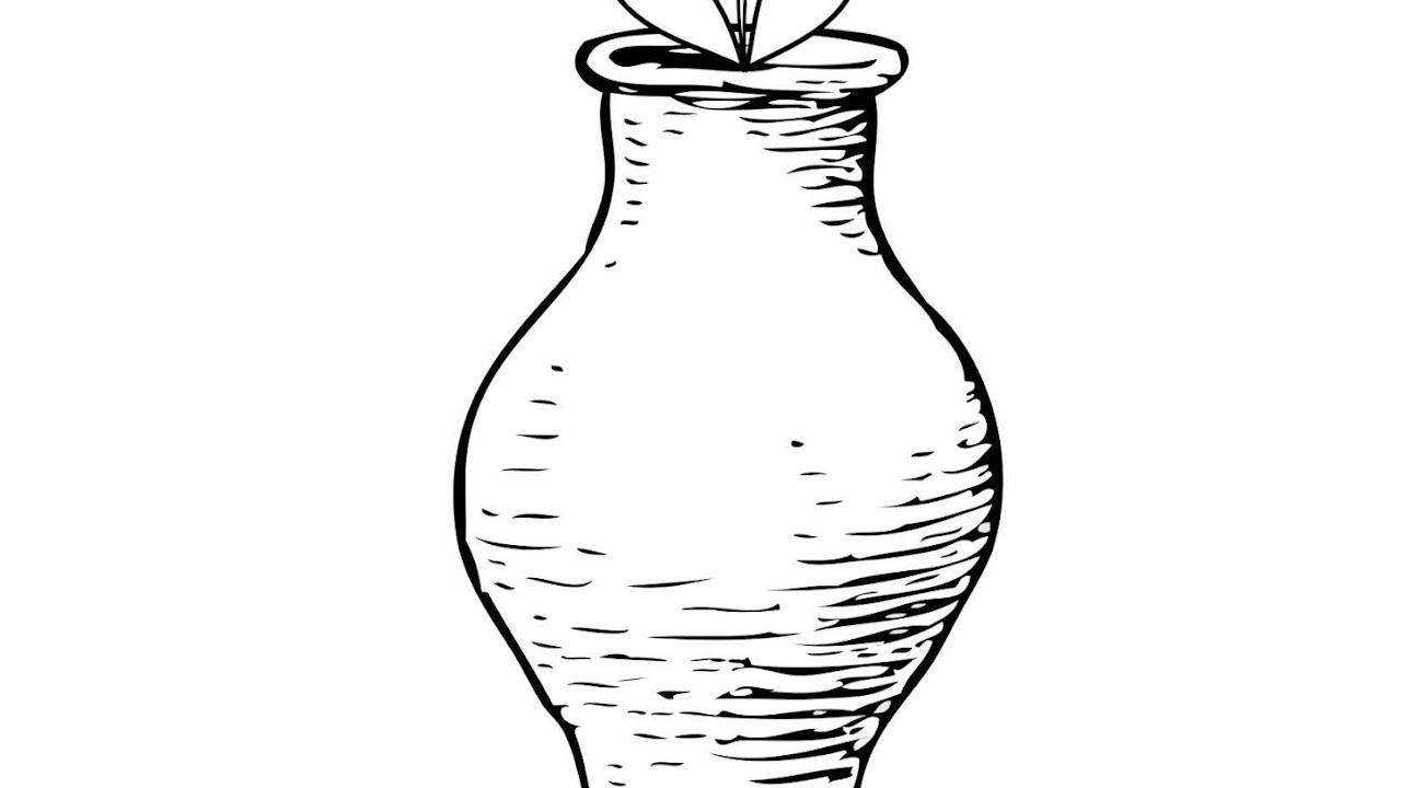 Menebalkan Huruf V Dan Mewarnai Gambar Vas Bunga