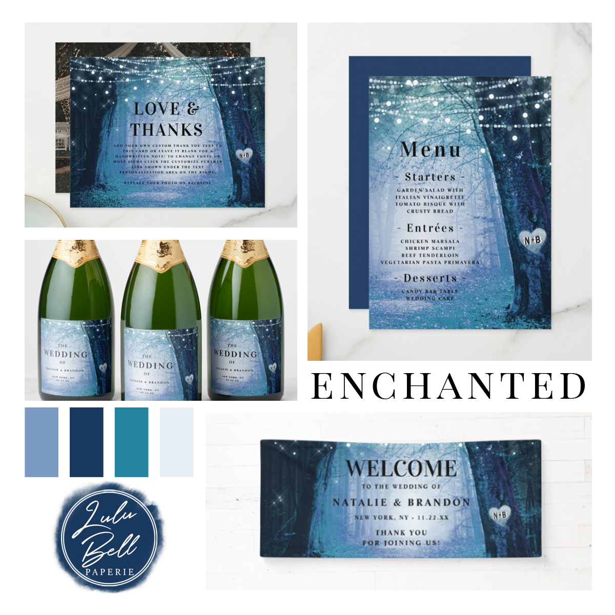 Enchanted Forest Wedding Theme in Navy Blue Color Palette | Thank You Cards, Dinner Menus, Mini Champagne Bottle Labels, and Welcome Wedding Banner Sign