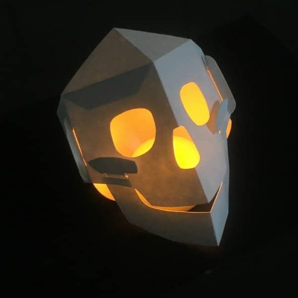 lighted paper skull lantern
