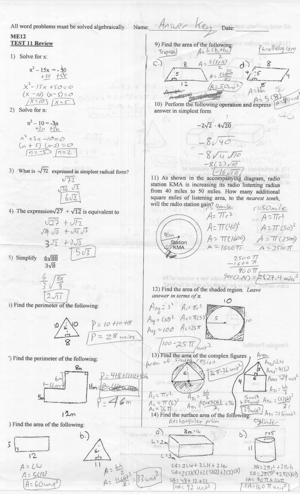 Mr. Napoli's Algebra: Aim Test 11 Review