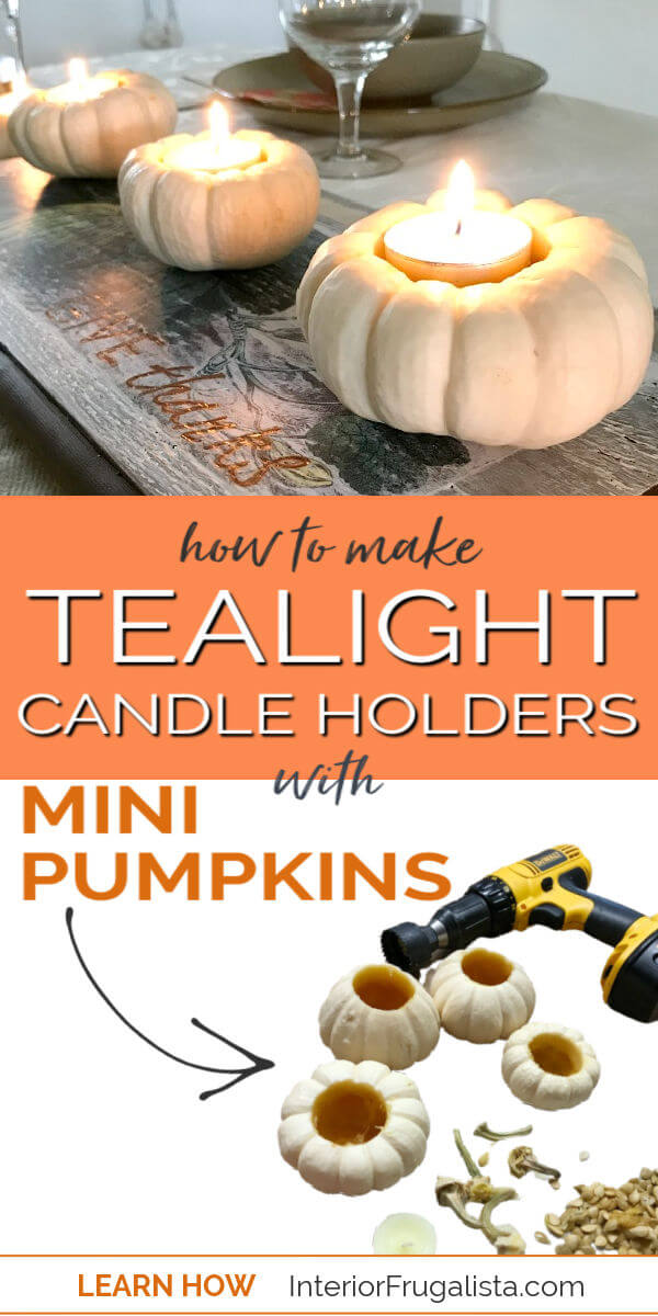 How to turn real mini pumpkins into tealight candle holders for fall by Interior Frugalista plus tips for how to preserve the pumpkin stems to use for future fall crafts. #minipumpkins #diypumpkintealights
