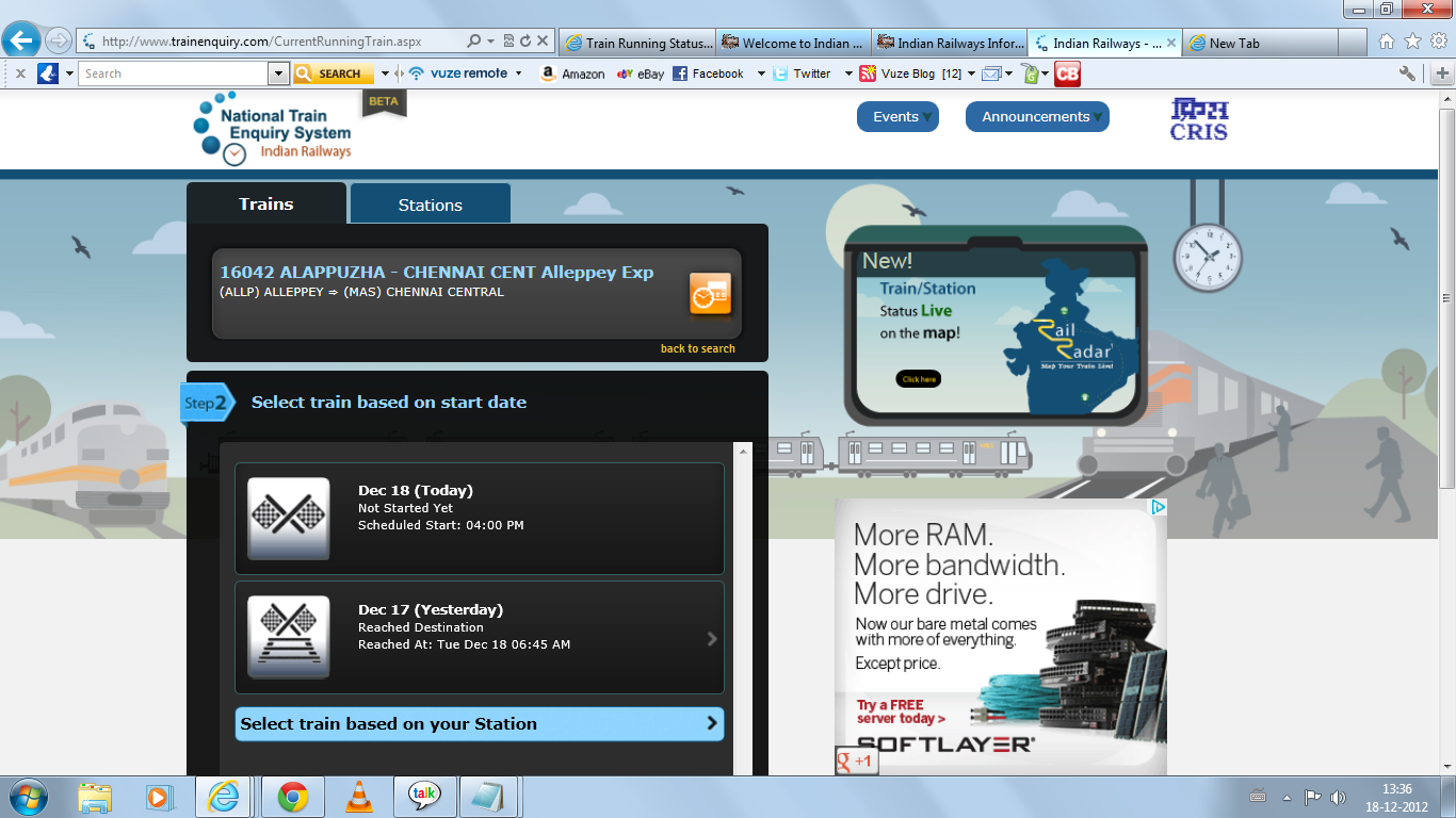 India Railway Trains information: Online Train running Status