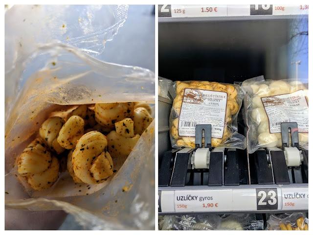 Vending machine cheese in Bratislava in winter