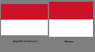 Bendera negara Indonesia dan Monako yang sama persis