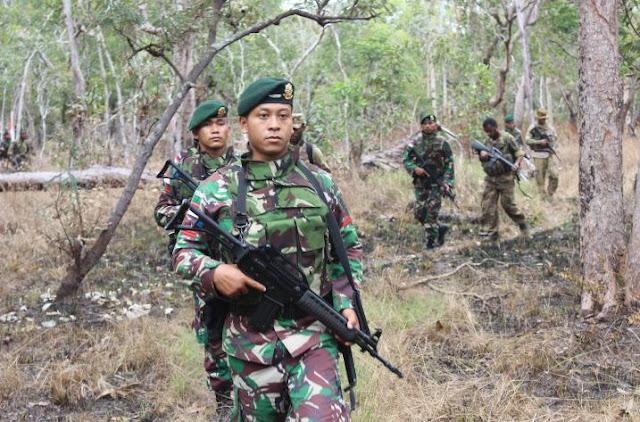 Prajurit Kostrad Patroli Patok Bersama Tentara PNG di Wilayah Perbatasan