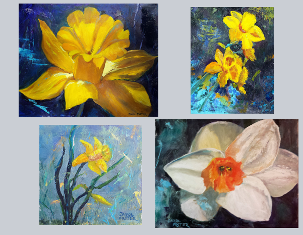 Daffodils as a sign of hope and renewal by artist Carol Foster. Image credit Foster Moments.