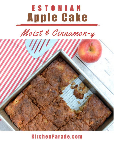 Estonian Apple Cake ♥ KitchenParade.com, an easy low-calorie apple cake recipe, moist and bright with cinnamon.