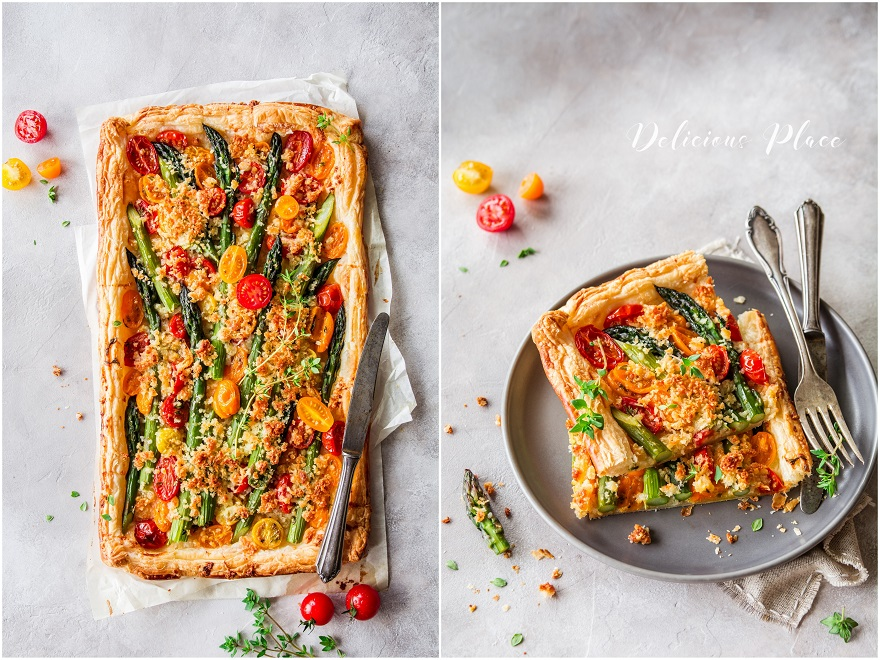Tarta ze szparagami, pomidorkami i kruszonką z parmezanu