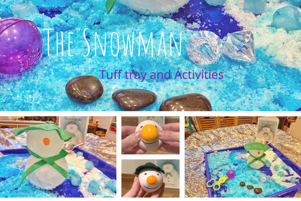 The Snowman sensory ice melting tuff tray ideas and activities