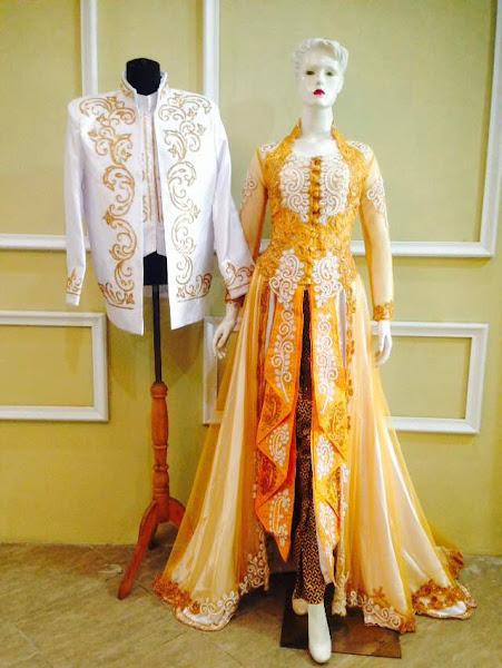 baju kebaya pengantin kuning tampak depan