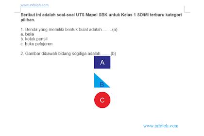Soal UTS SBK Kelas 1 SD/MI Semester 1 Kurikulum 2013 Terbaru