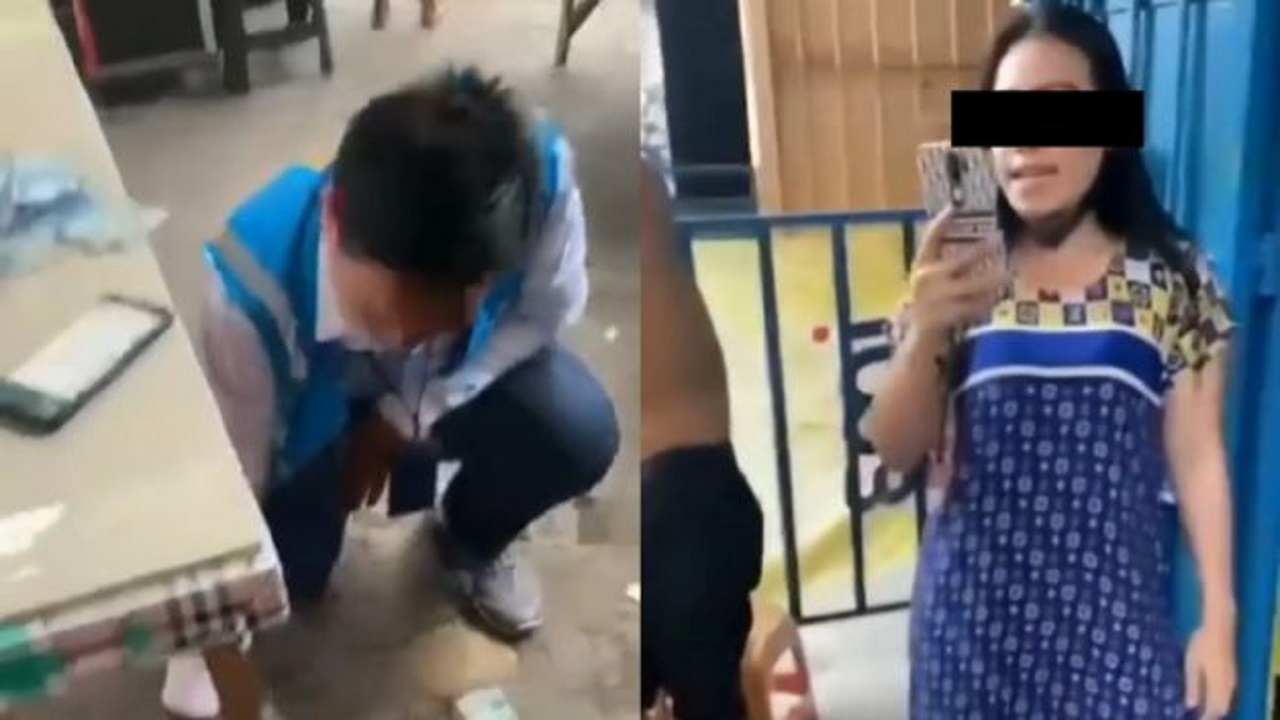 Miris! Viral Wanita Lempar Uang saat Ditagih Petugas PLN Bayar Tagihan yang Menunggak