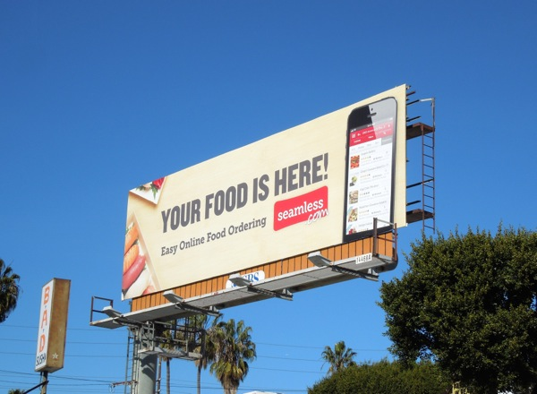 Your food is here Seamless billboard
