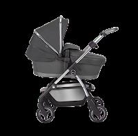 Grey and chrome colour carrycot pram, four wheels, handle bar, basket