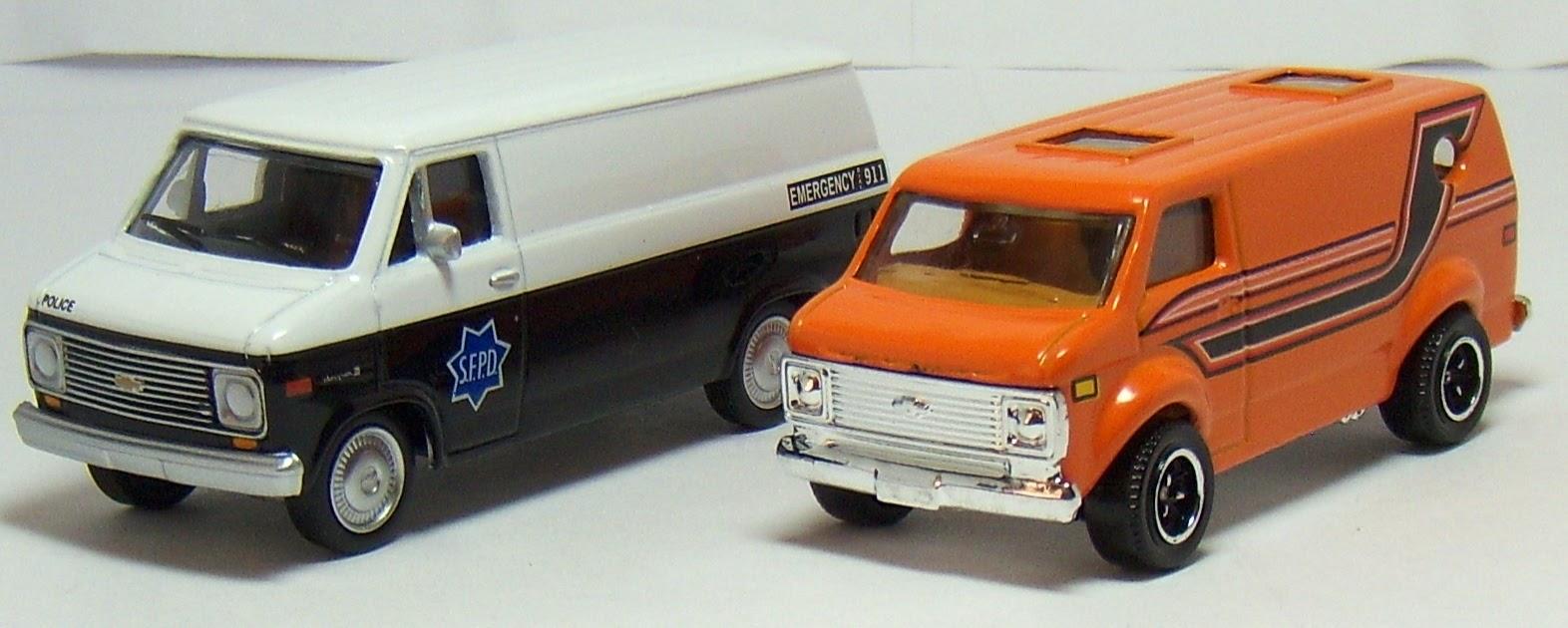 Two Lane Desktop: Greenlight 1977 Chevy G20 Van and Matchbox Chevy Van