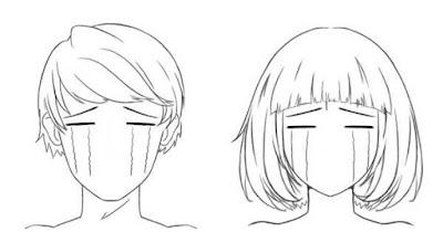 Personnages qui pleurent les yeux fermés
