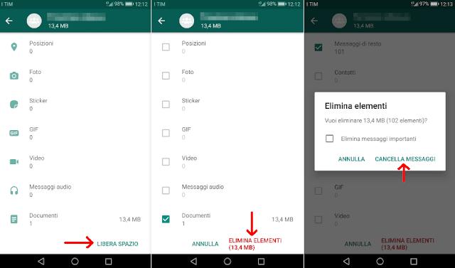 WhatsApp opzione Libera spazio per eliminare tutti i media ricevuti in un gruppo o chat