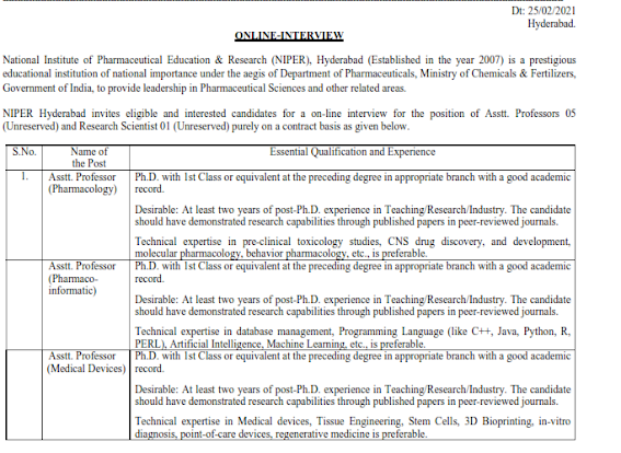 Recruitment of various post in  NATIONAL  INSTITUTE OF PHARMACEUTICAL EDUCATION AND RESEARCH