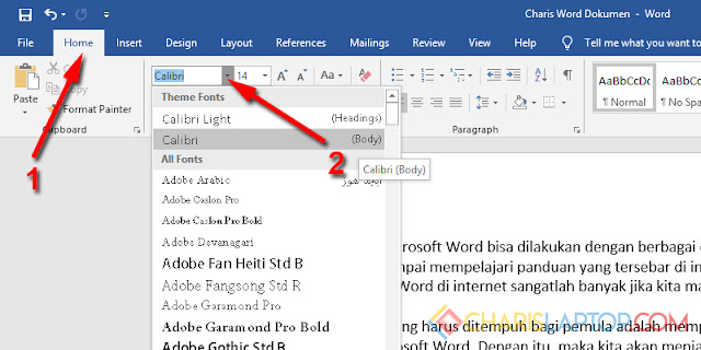 Mengubah Font Ms Word