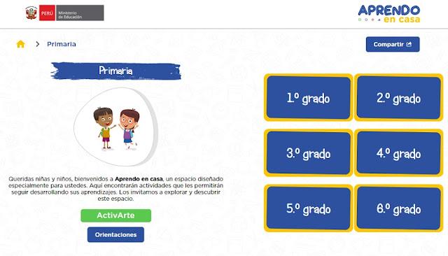 Horarios aprendo en casa, programación educación primaria