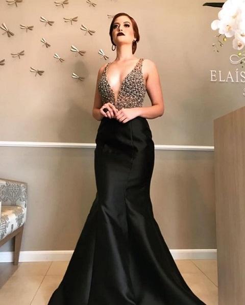 vestido de festa sereia preto