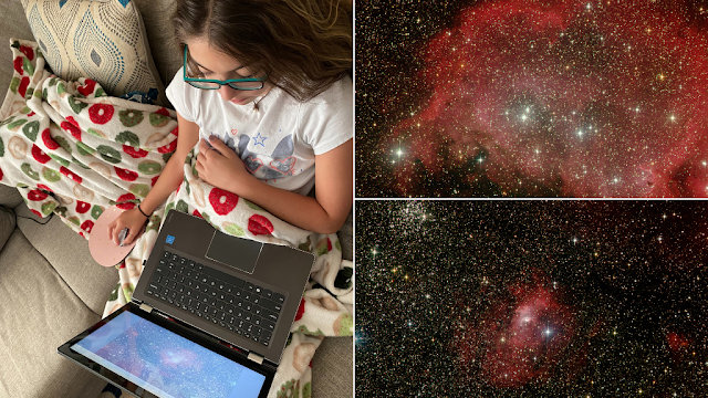 5th-grade student researching her nebula image assignment virtually from home along with images of Westerhout 5, an emission nebula and NGC 7635, the Bubble Nebula in Cassiopeia.