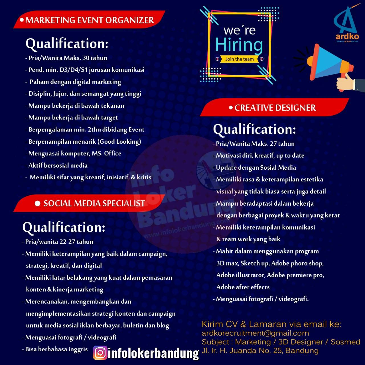 Lowongan Kerja PT. Ardan Komunika ( Ardko ) Bandung Mei 2020