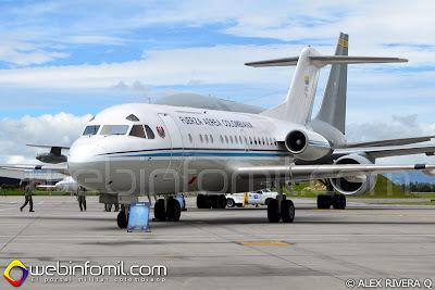 Avión de transporte ejecutivo Fokker F-28 (FAC0002) que anteriormente cumplió funciones de avión presidencial.