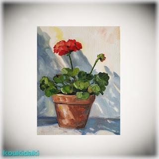 Πίνακας ζωγραφικής Katrina Case (Red Geranium)