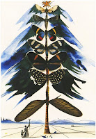 A painting by Salvador Dali that shows a Christmas tree made of butterflies.