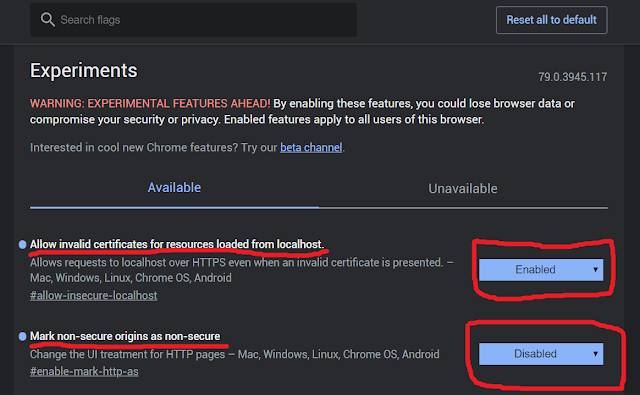 """Chrome : Disable """"Not Secure"""" Warning And Allow Insecure Localhost"""
