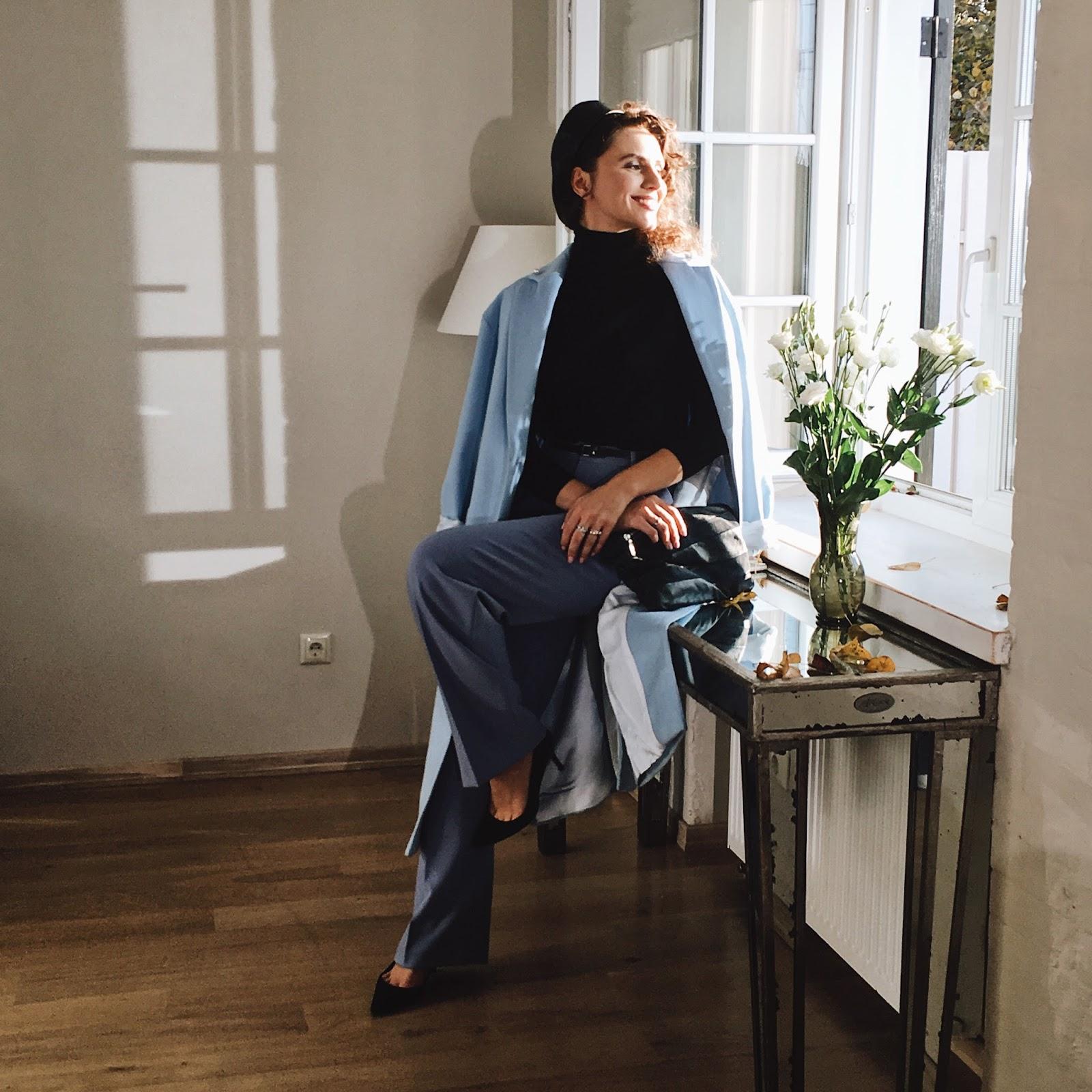 голубое пальто с чем носить