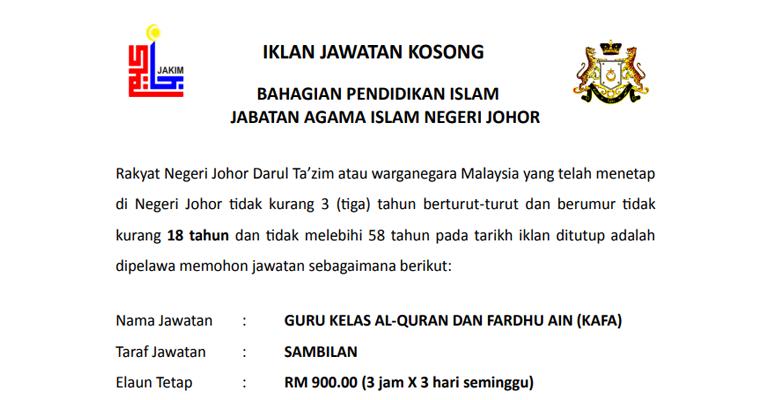 Jawatan Kosong Guru KAFA di Jabatan Agama Islam Negeri Johor